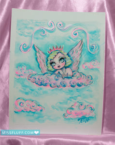 Cherub Princess - Original Drawing 8x10