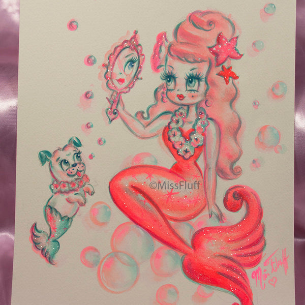 Coral Pink Baby Doll Mermaid with Merpup- Original Drawing 8x10