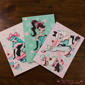 Cupcake Dolls • Postcard Prints Set
