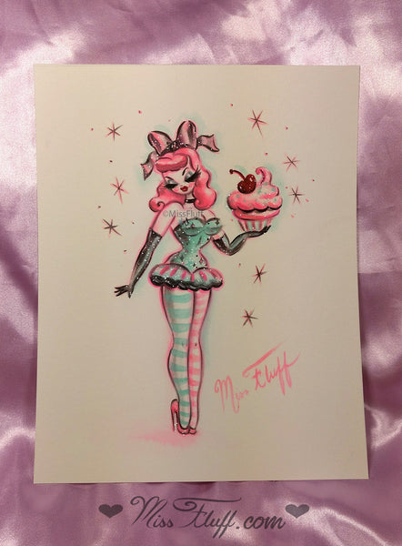 Cupcake Doll Standing Holding a Cupcake- Original Drawing 8x10