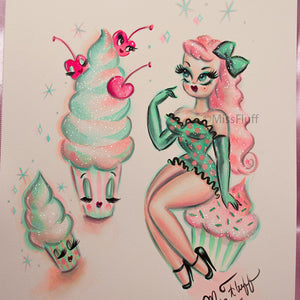 Girl with Enchanted Cupcakes -Candy Peach & Green - Original Drawing