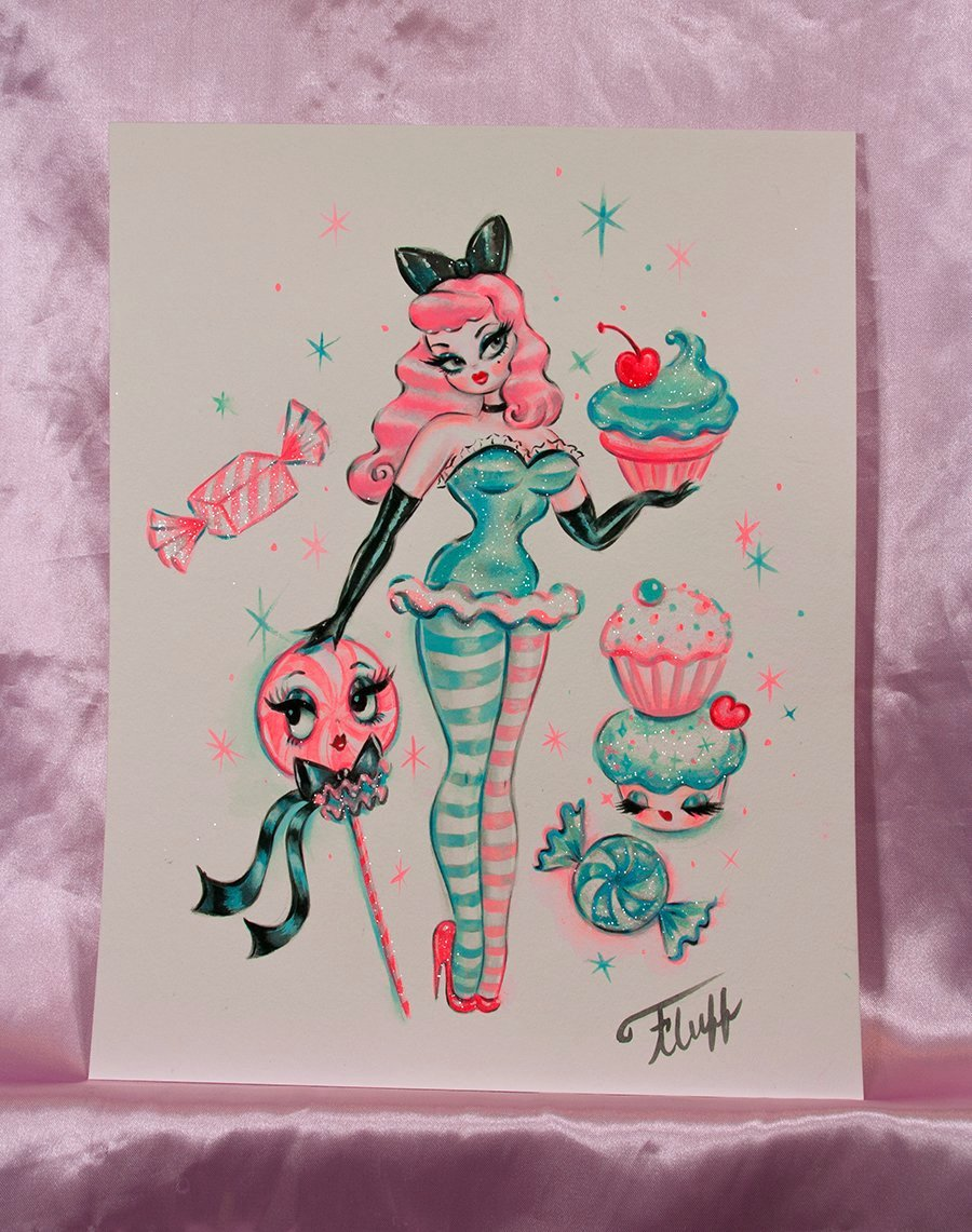 Cupcake Doll with Lolli - Pink Hair - Original Drawing 11x14