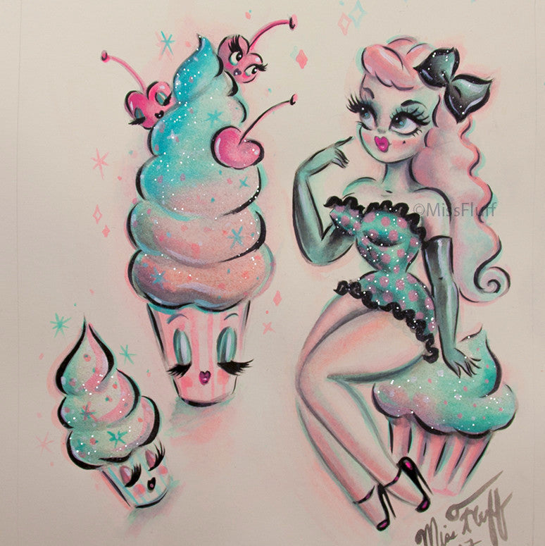 Girl with Enchanted Cupcakes -Candy Blue & Pink - Original Drawing