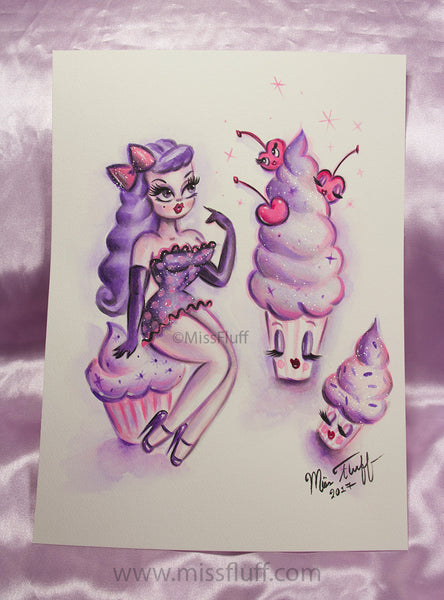Girl with Enchanted Cupcakes -Candy Violet & Purple - Original Drawing