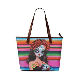 Sugar Skull Girl on Sarape • Purse Tote