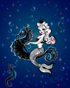 Pearla Riding a Seahorse on Deep Blue • Art Print