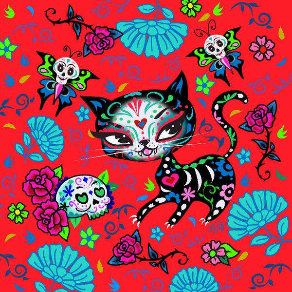 Sugar Skull Kitty on Red • Art Print