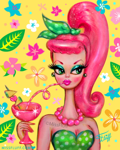 Doll with Pink Pony Tail Sipping a Tropical Cocktail • Art Print