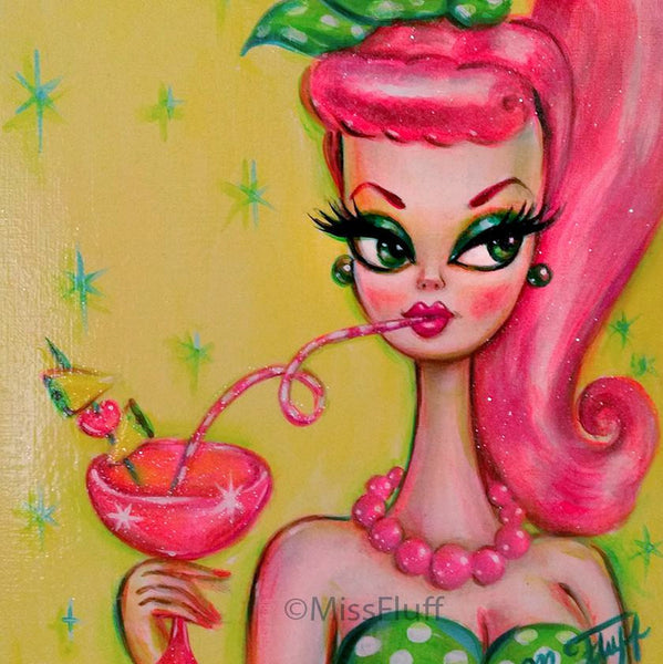 Doll Sipping a Tropical Cocktail- Original 8x10