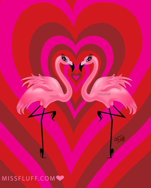 Flamingo Love • Art Print