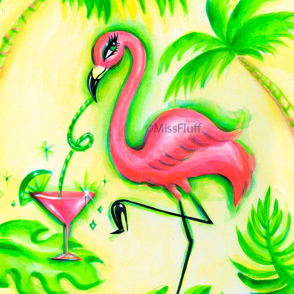 Flamingo with Pink Martini- Original 9x12