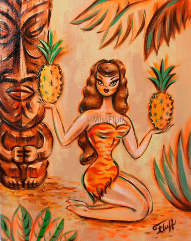 Tiki Girl with Pineapples- Original Drawing 11x14