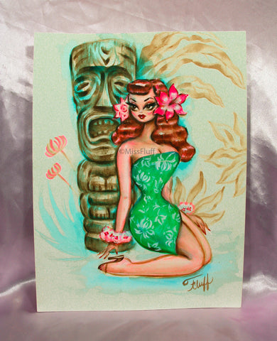Girl in a Tropical dress and Tiki - Original Drawing 9x12