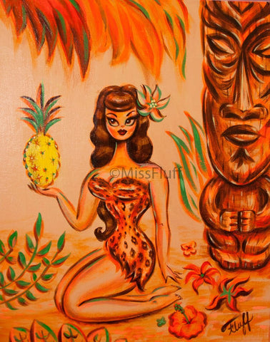 Tiki Girl in Leopard Print with Pineapple- Original Drawing 11x14