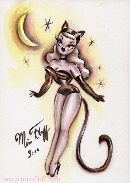 Pinup Kitten in a Cat Suit- Original Drawing