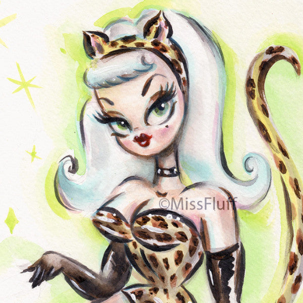 Pinup Girl in Leopard Catsuit - Original Drawing