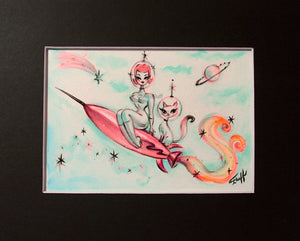 Girl on a Rocket with Space Kitty- Original 5x7