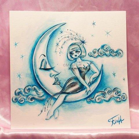 Girl on the Moon - Original Drawing 8x8