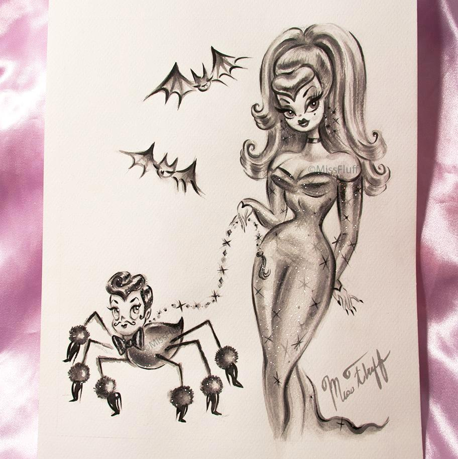 Glamour girl in a Sparkly Gown with Dapper Dandy Spider- Original Drawing 9x12