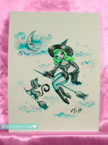 Cute Green Haired Witch - Original Sketch 8x10