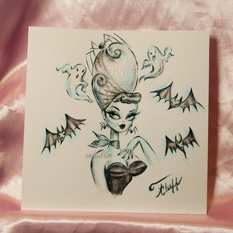 The Haunted Bouffant - Original Drawing 8x8