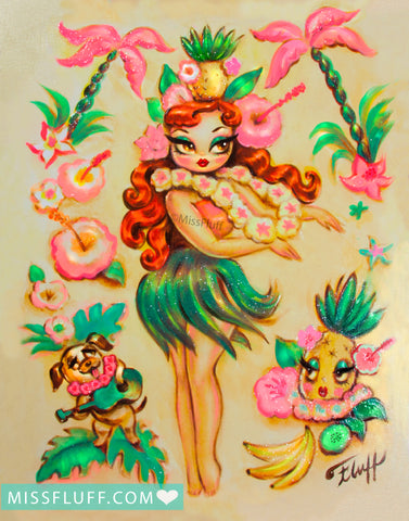 Hula Girl with Pineapple Crown • Art Print