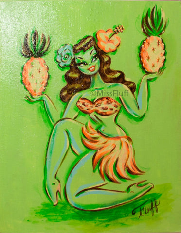 Hula Girl with Pineapples- Original Drawing 11x14