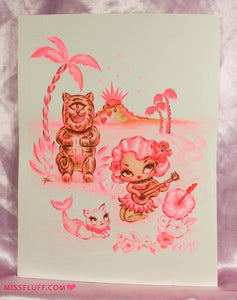 Hula Lulu with Cyclops Kitty Tiki - Original Drawing 8x10