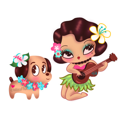 Hula Lulu and Hula Doggy • Vinyl Sticker Set