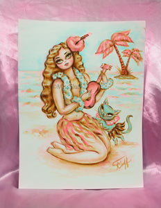 Hula Girl with Ukelele and Kitty - Original Drawing 9x12