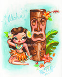 Hula Babydoll with Tiki Art Print