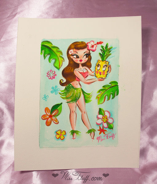 Hula Dolly With Enchanted Pineapple- Original Drawing