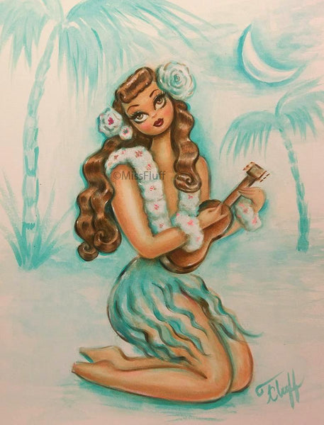 Hula Girl Moonlight Serenade - Original Drawing 9x12