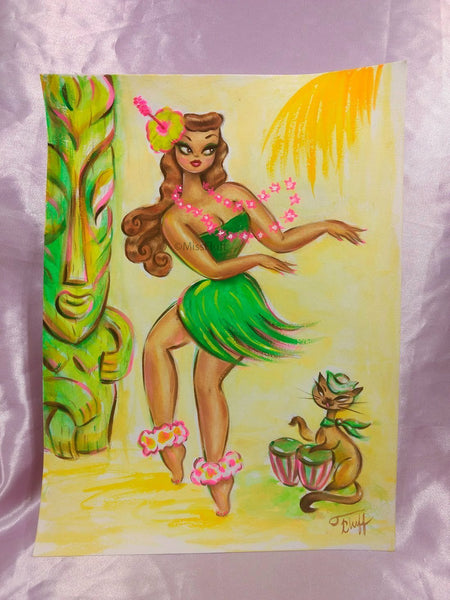 Hula Girl with Bongo Kitty - Original Drawing 9x12