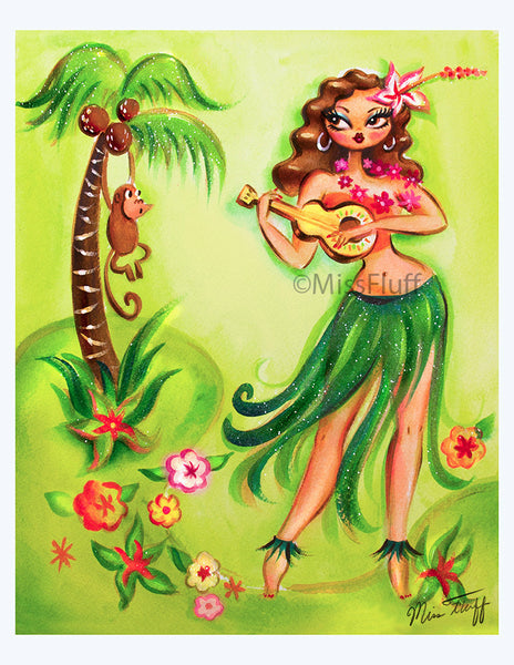 Hula Honey Art Print from Painting