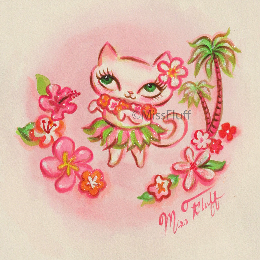 Hula Kitty -Guava and Lime- Original Drawing