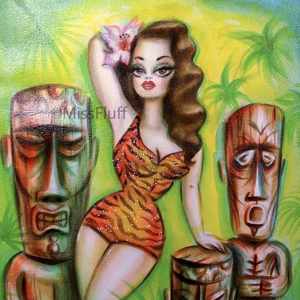 Island Beauty with Three Tikis - Original Drawing