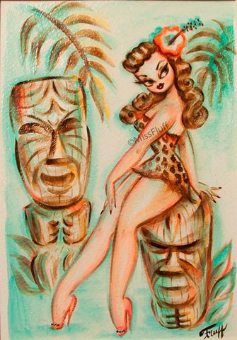 Island Maiden with Tikis- Original Sketch