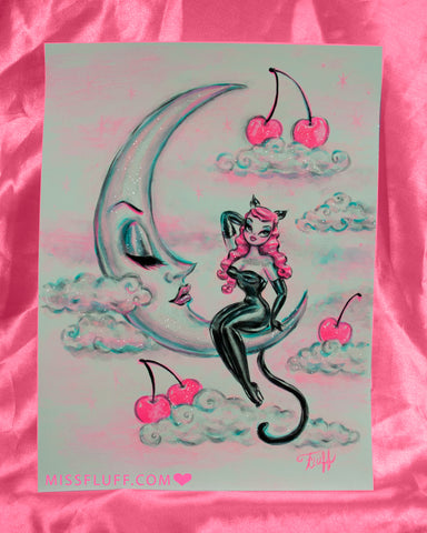 Kitty Girl on the Moon-Pink Cherries - Original Drawing 9x12