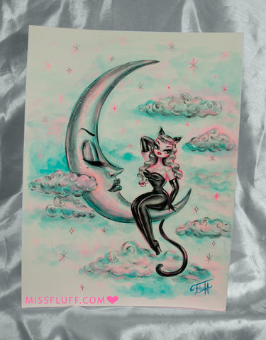 Kitty Girl on the Moon-Platinum - Original Drawing 9x12