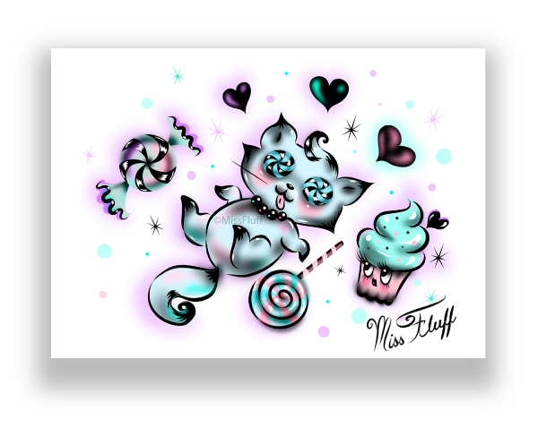 Kitty in a Sugar Coma- Fine Art Print
