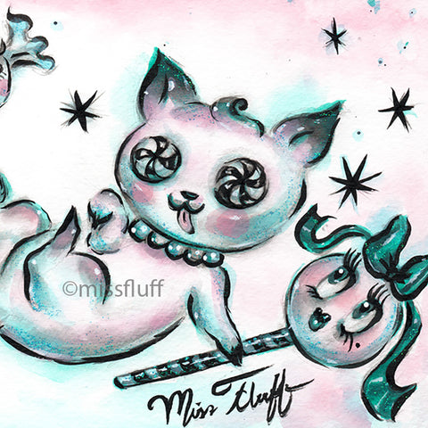 Kitty in A Sugar Coma- Original Drawing
