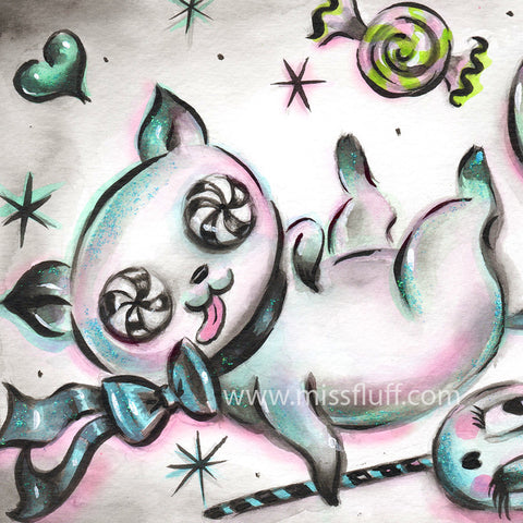 Kitty in A Sugar Coma 2- Original Drawing