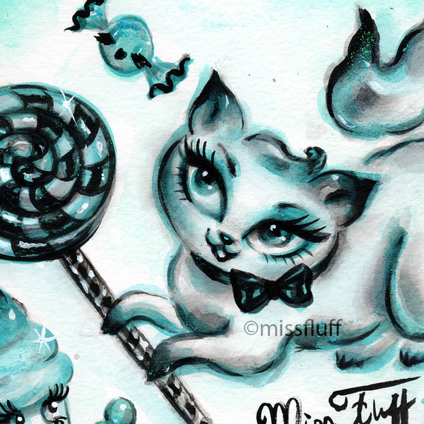 Kitty with Licorice Lolly- Original Drawing