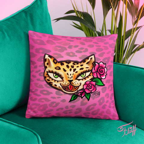 Leopard Kitty • Throw Pillow