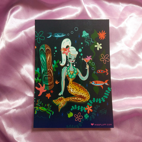 Leopard Martini Mermaid • Postcard Print