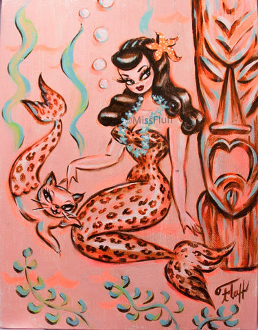 Leopard Mermaid with a Merkitty- Original Drawing 11x14