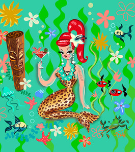 Leopard Martini Mermaid • Art Print