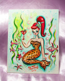 Leopard Mermaid with Martini- Original Painting