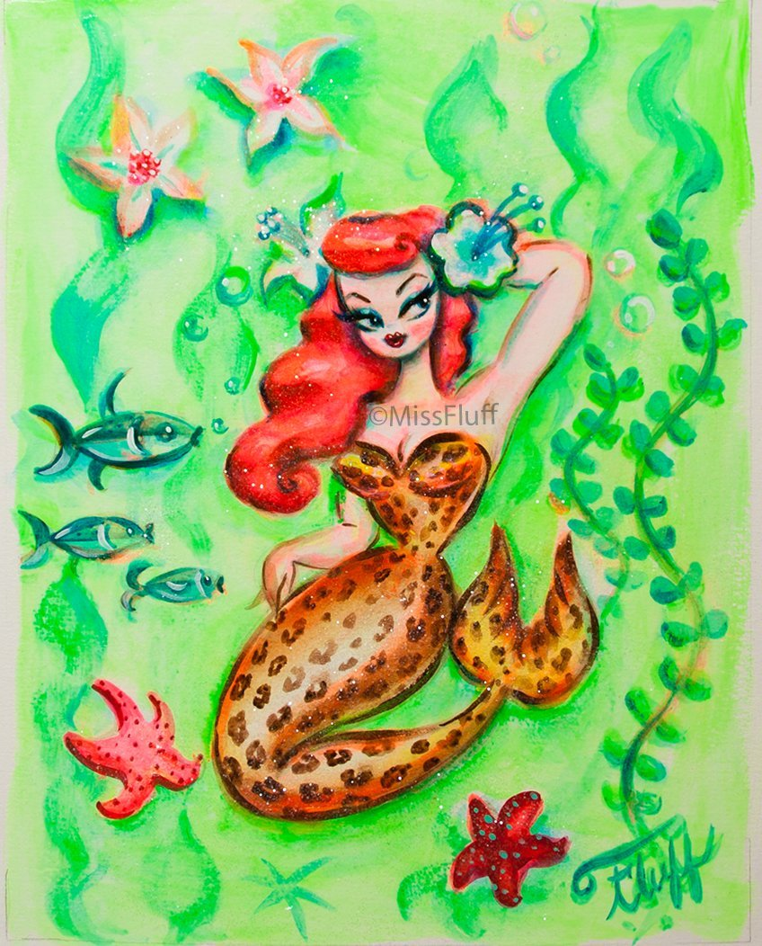 Leopard Pinup Mermaid - Original Drawing 8x10